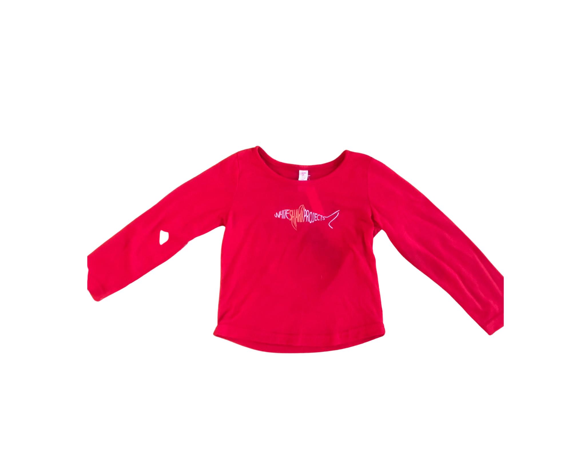Red Long Sleeve Kiddies Shark Shirt